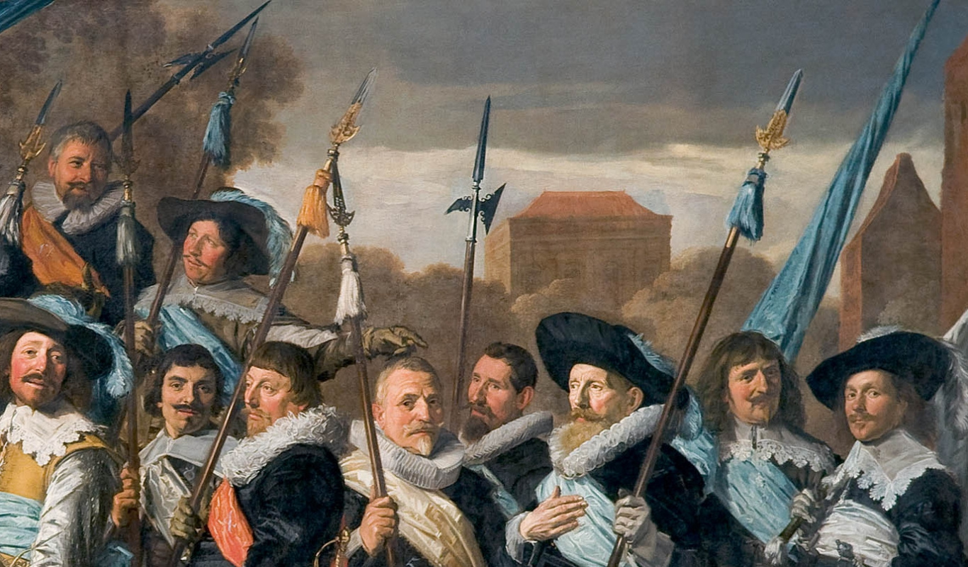 Frans Hals. Group portrait of officers and sergeants rifle company of St.. George Fragment 2