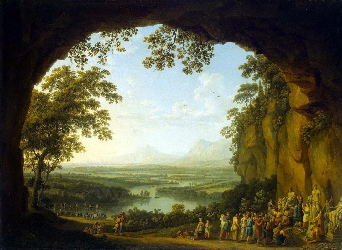 Якоб Филипп Хаккерт. Пейзаж со сценой античного празднества