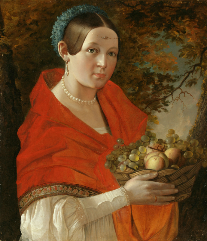 Ivan Fomich (Trofimovich) Khrutsky. Portrait of an unknown woman with a basket in his hands