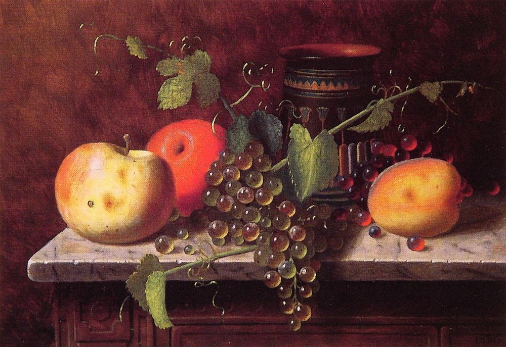 Уильям Майкл Харнетт. Натюрморт с фруктами и вазой