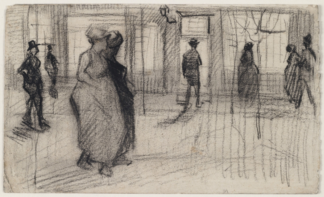 Vincent van Gogh. People walking down the street in the evening