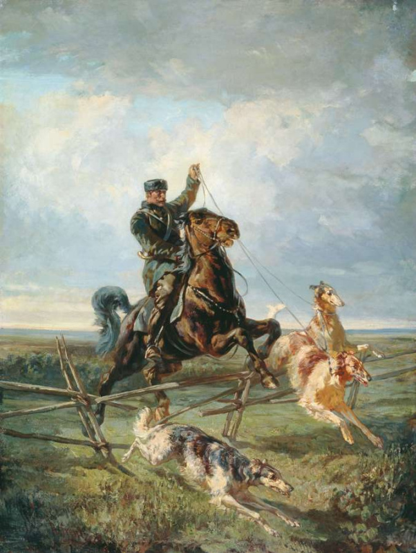 Rudolf Fedorovich Frenz. Huntsman with three hounds 1872