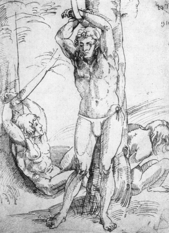 Ханс Зюс фон Кульмбах. Три обнаженных, связанных мужчины
