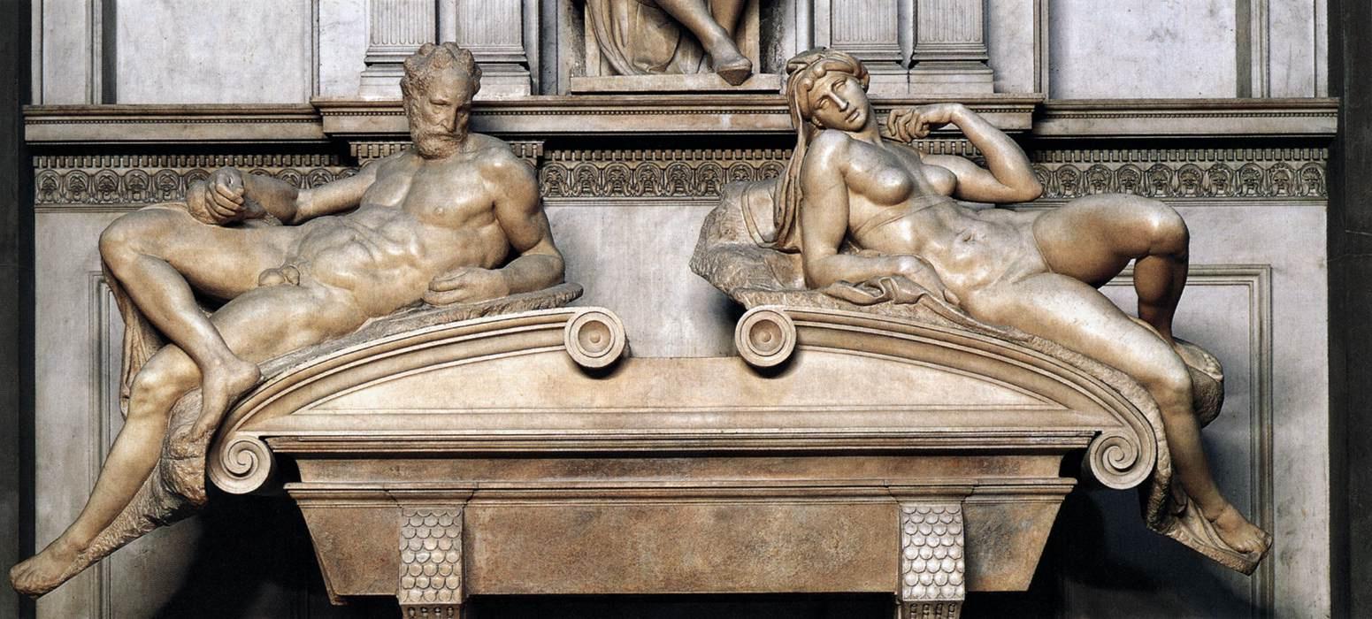 Michelangelo Buonarroti. Tomb of Lorenzo Medici. Fragment. Evening and Morning