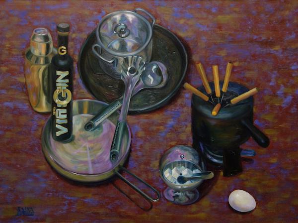 Larissa Lukaneva. Still life with metallic dishes