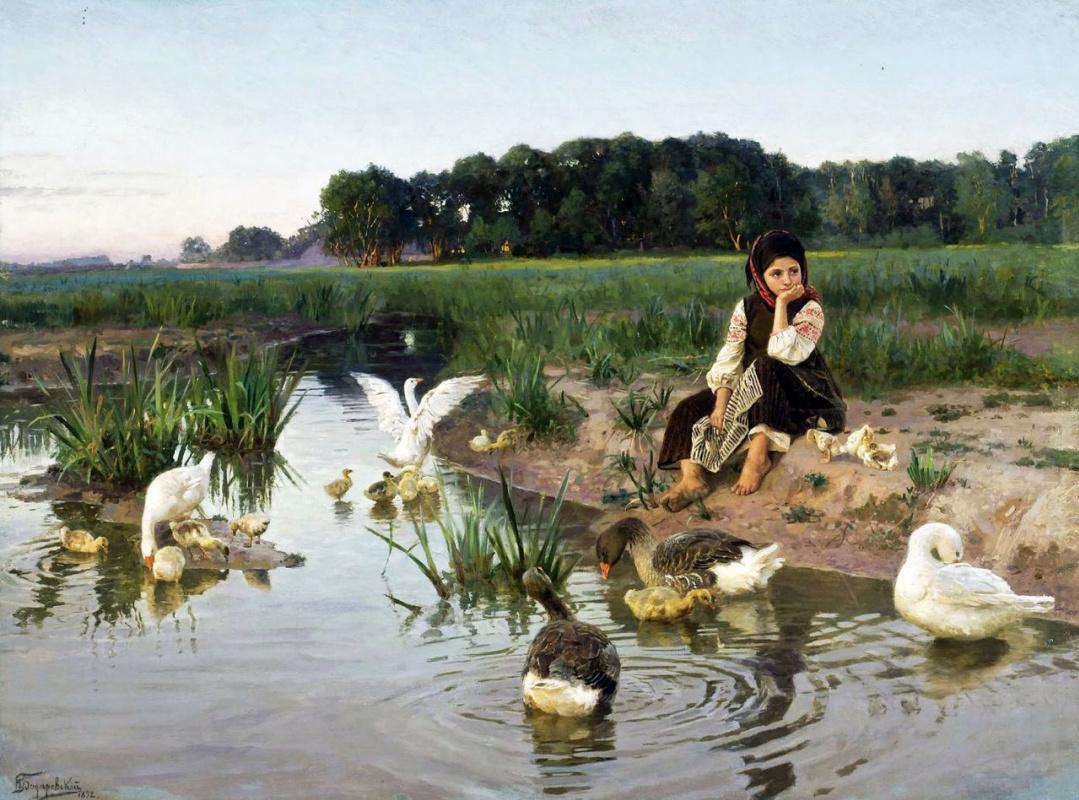 Nikolai Kornilovich Bodarevsky. Little Russia. Girl with geese