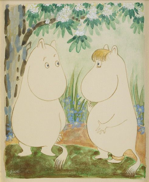 Tove Jansson. Love under a flowering tree. Moomin characters