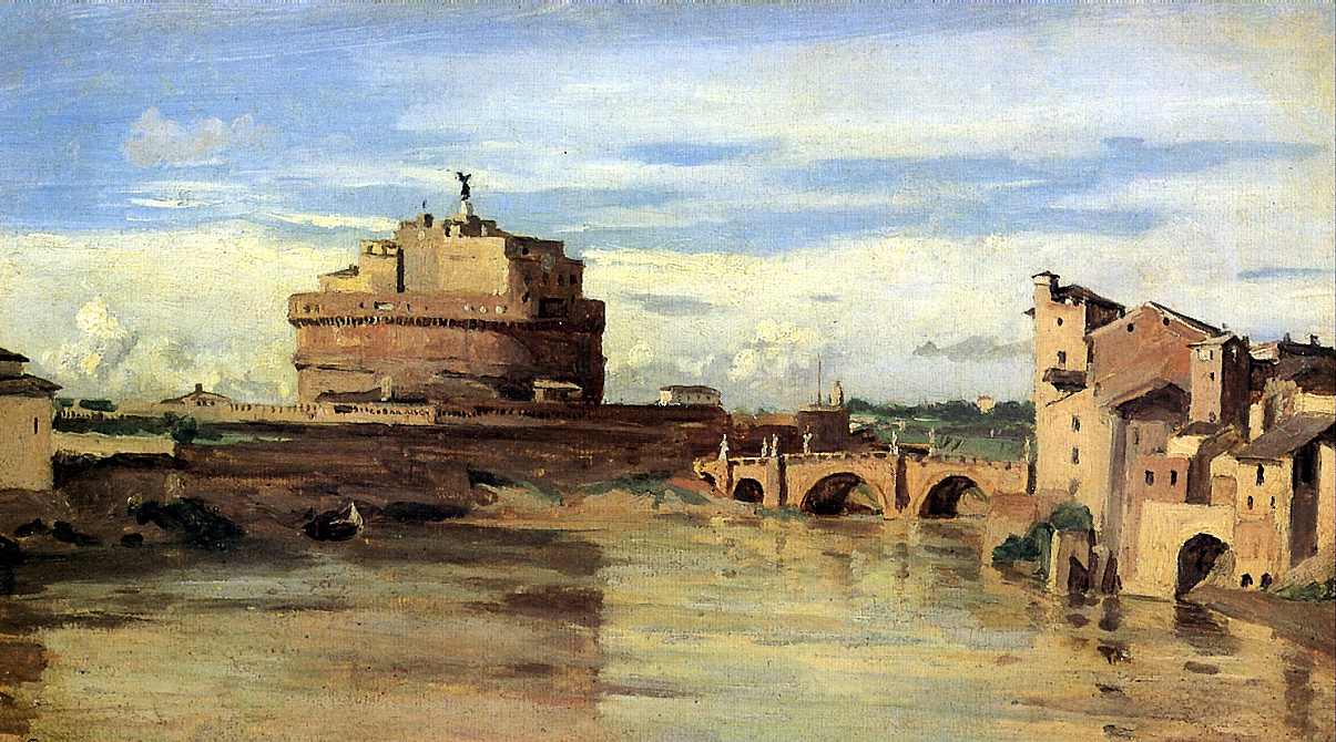 Camille Corot. Castle of the Holy Angel and the Tiber in Rome