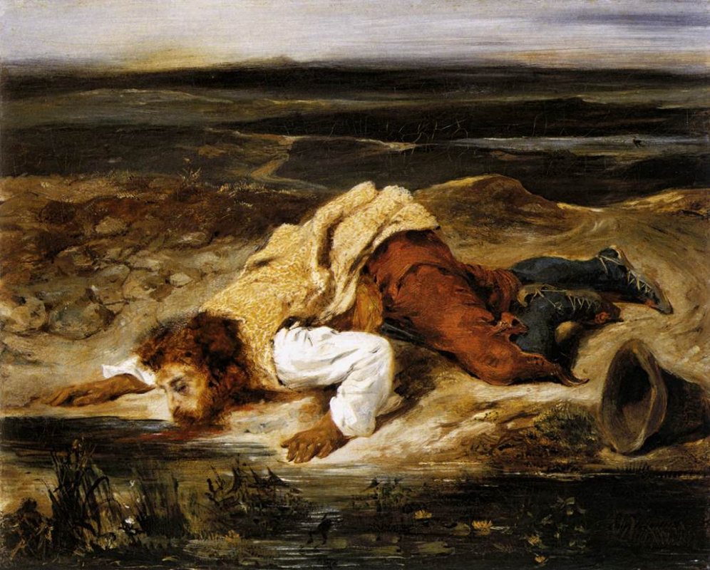 Эжен Делакруа. Смертельно раненый разбойник утоляет жажду