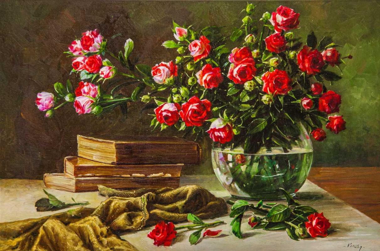 Savely Kamsky. Натюрморт с садовыми розами и книгами