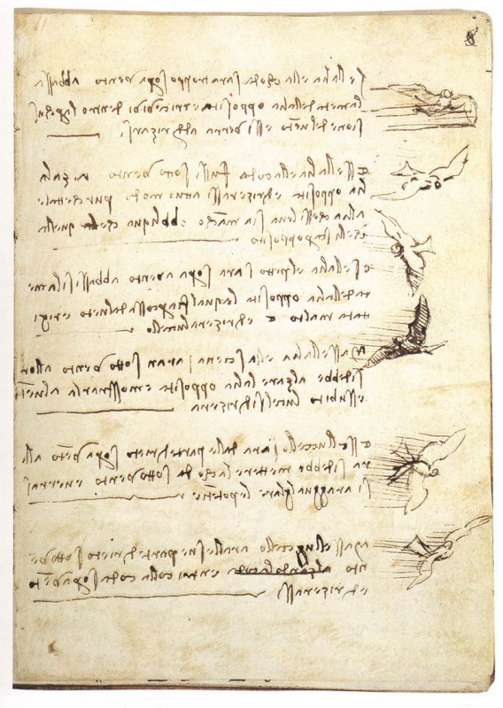 """Леонардо да Винчи. Страница из """"Кодекса о полете птиц"""""""