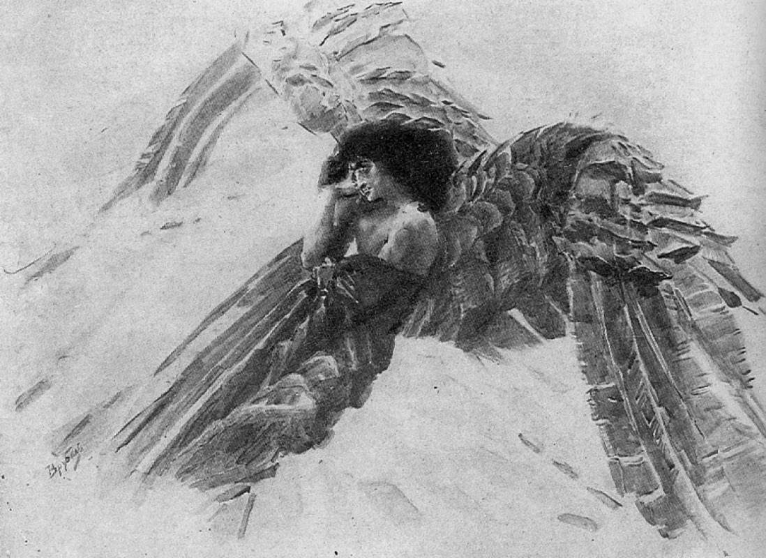 "Mikhail Vrubel. The demon flying. Illustration to the poem by Mikhail Lermontov ""Demon"""