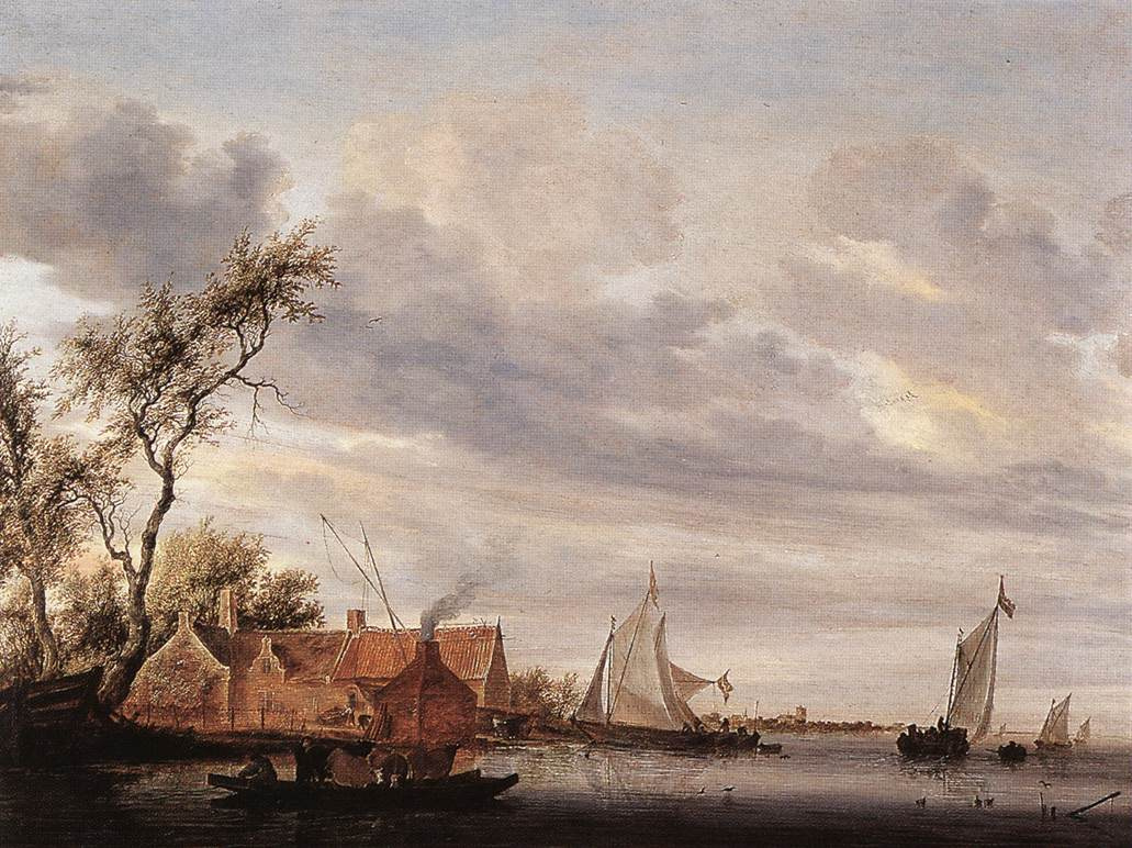Саломон ван Рёйсдал. Речная сцена с фермой