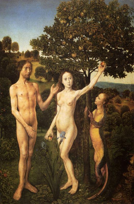 Ван Дер Гоес Гюго. Первородный грех. Венский алтарь, левая створка