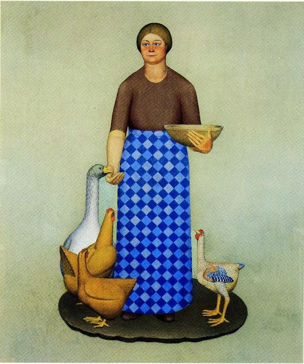 "Grant Wood. The farmer's wife and chickens. Series ""Product Of Iowa"""