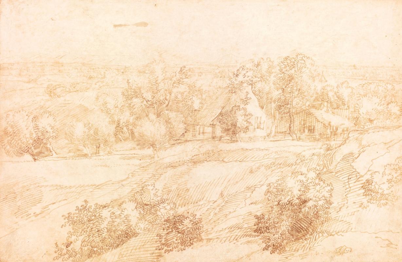Ян Ливенс. Панорамный пейзаж с фермой среди деревьев