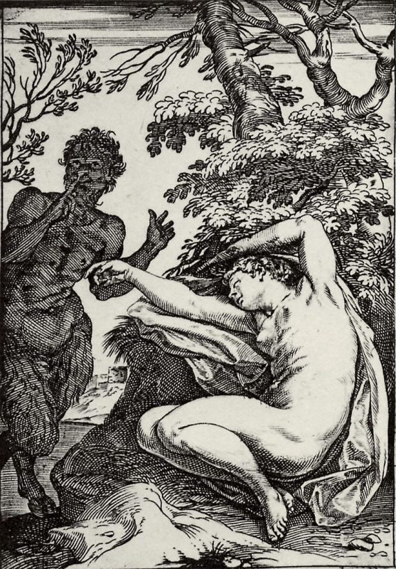 """Agostino Carracci. The series of """"Sensuality"""", a Satyr approaching a sleeping nymph"""