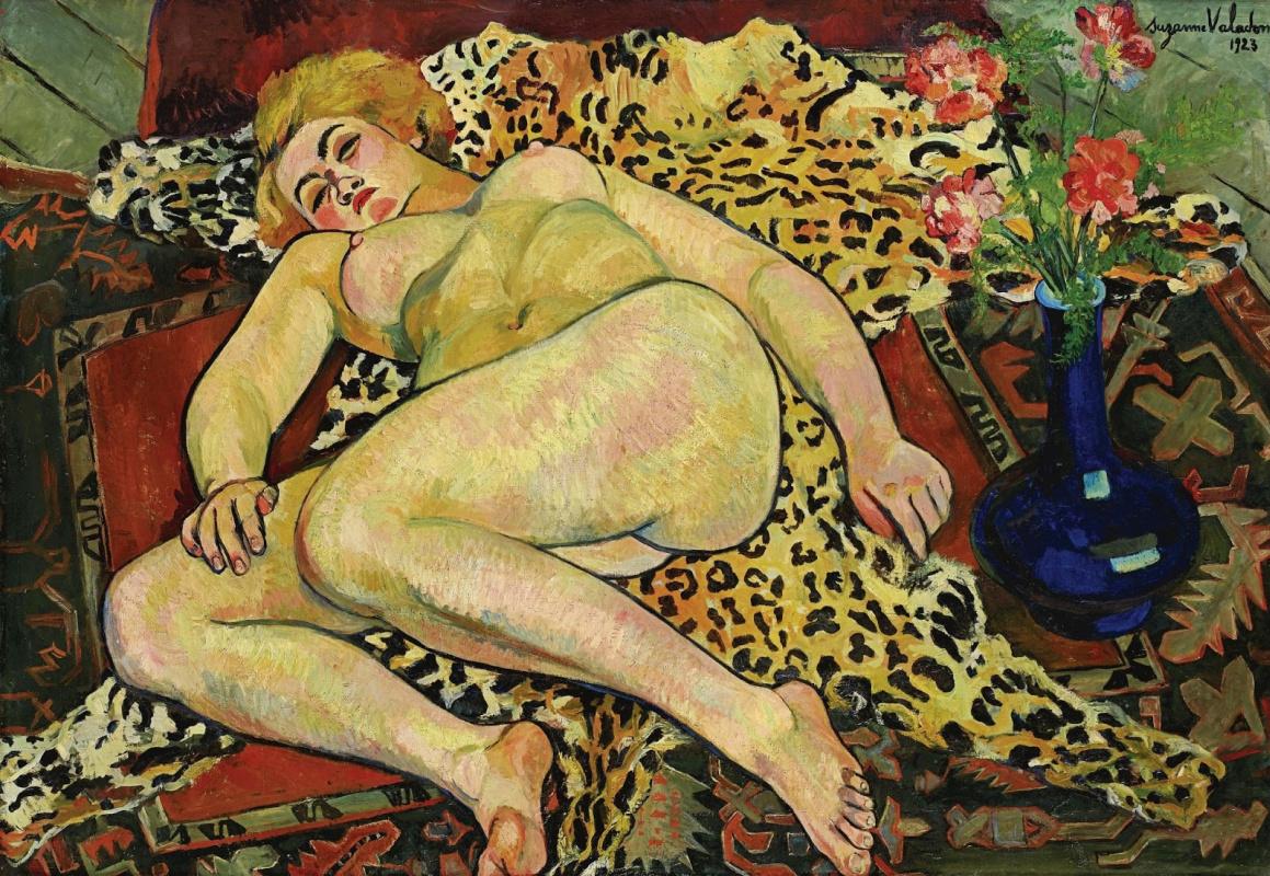 Сюзанна Валадон. Обнаженная Екатерина, лежащая на шкуре леопарда