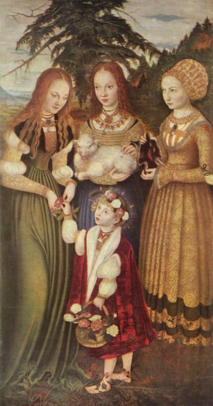 Лукас Кранах Старший. Алтарь св. Екатерины, левая створка, святые Доротея, Агнесса и Кунигунда