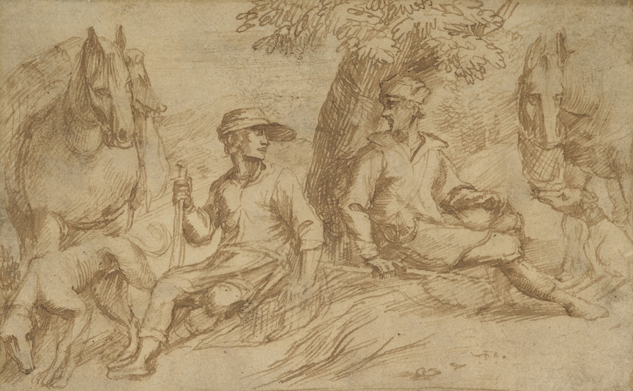 Jan Lievens. The hunters resting under a tree