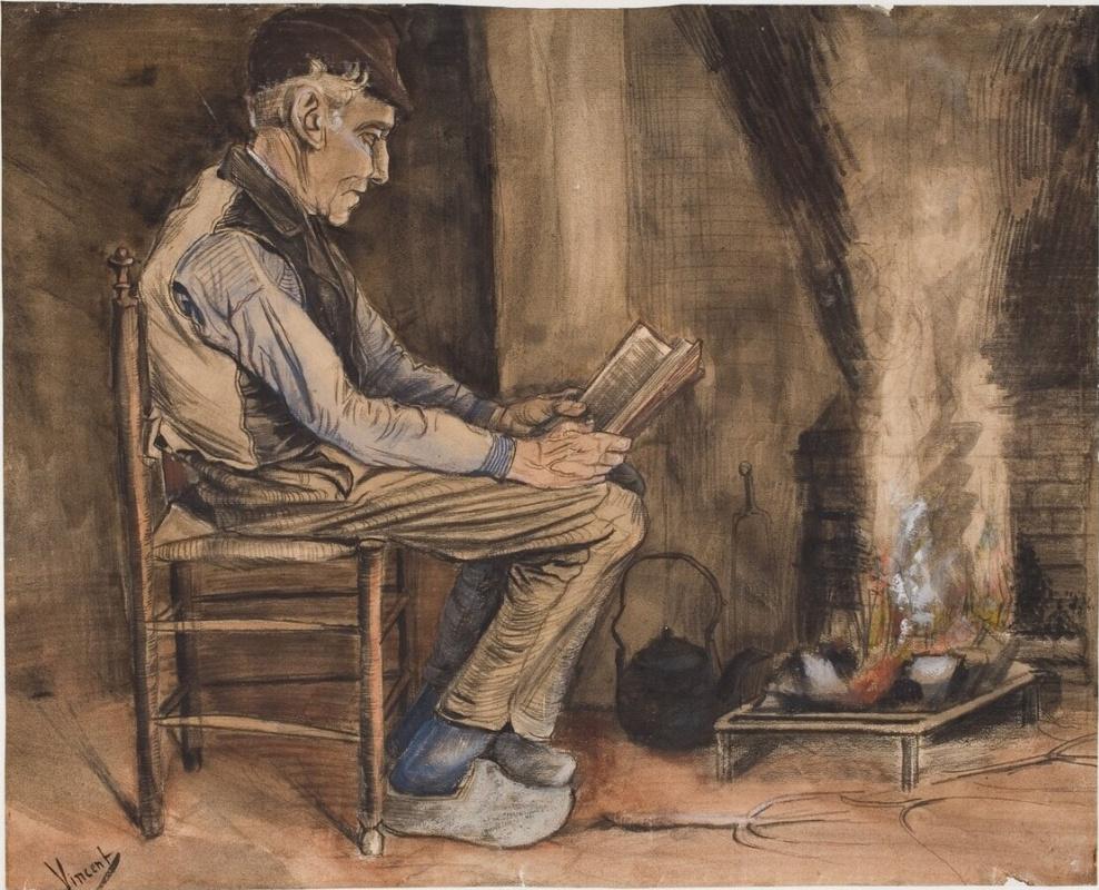 Винсент Ван Гог. Мужчина, читающий у очага