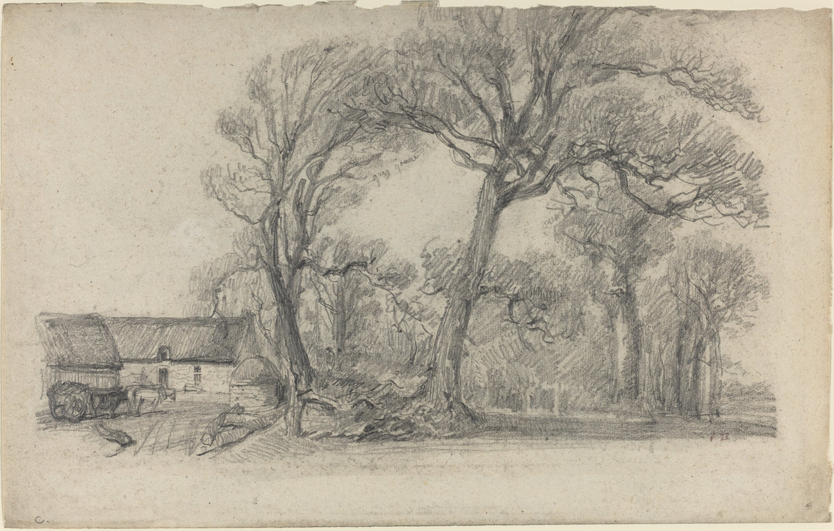 Eugene Boudin. Landscape with trees, a cottage and a cart