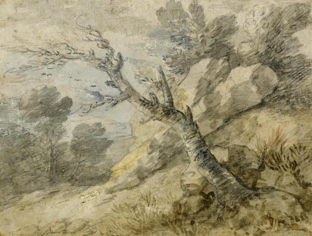 Томас Гейнсборо. Пейзаж со скалами и покосившимся деревом