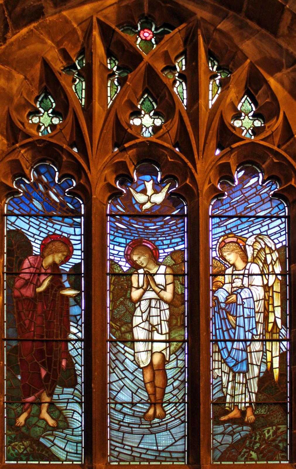William Morris.  Les premières années du Christ.  Le baptême  Vitrail de la galerie nord de la Toussaint
