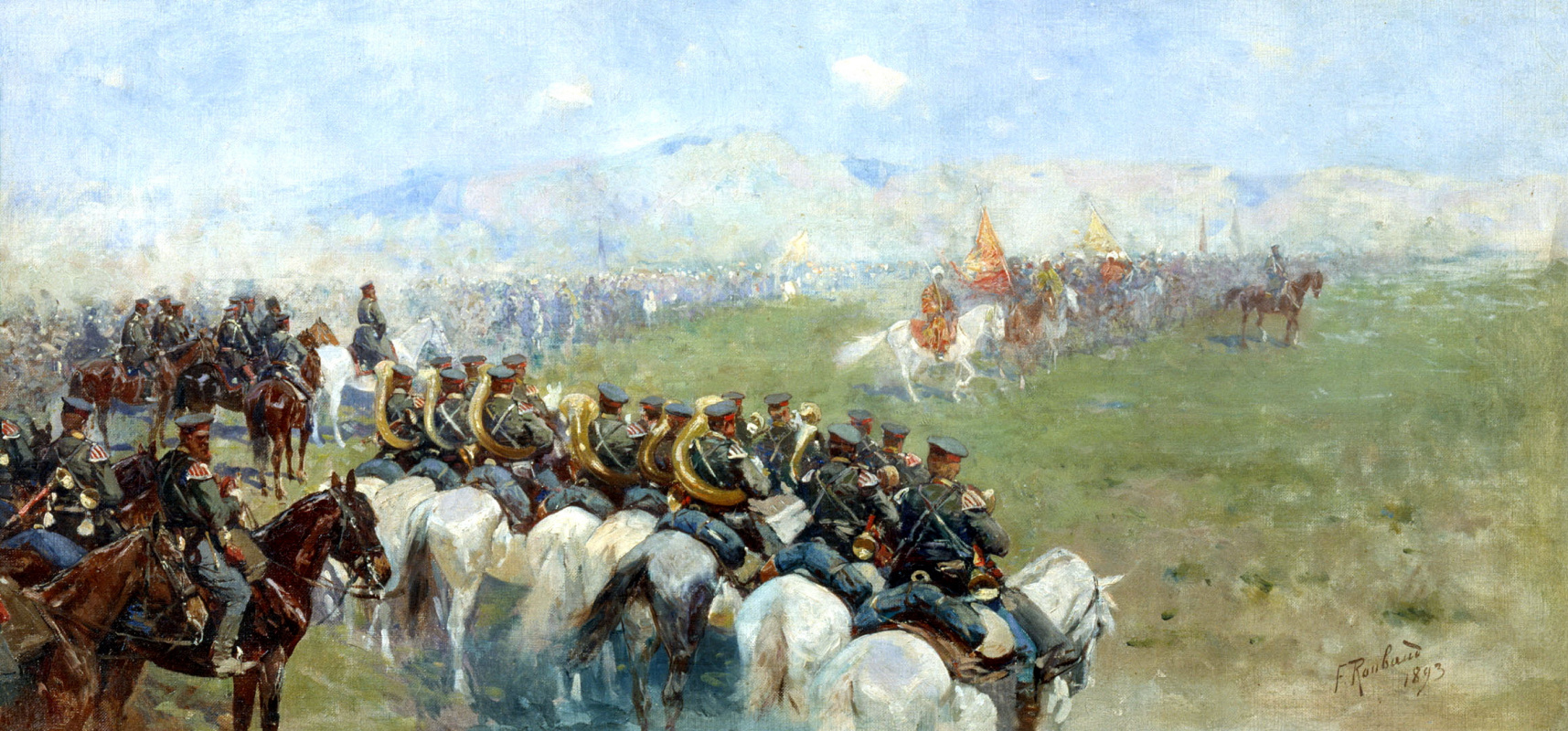 Франц Алексеевич Рубо. Смотр войск Александром III