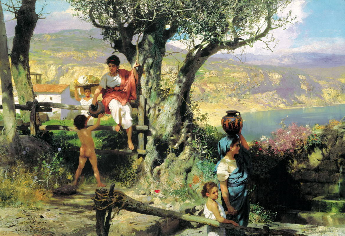 Генрих Ипполитович Семирадский. Rome. Village. Water