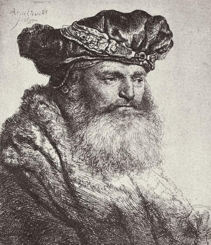 Рембрандт Харменс ван Рейн. Портрет бородатого мужчины в берете с аграфом