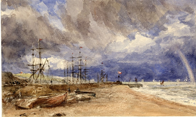 John Constable. Overlooking Folkestone harbour with a rainbow
