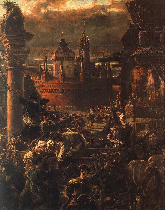 Ян Матейко. Выход студентов из Кракова в 1549 году. Фрагмент