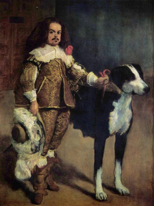 Juan Carreno de Miranda. Court dwarf with a dog