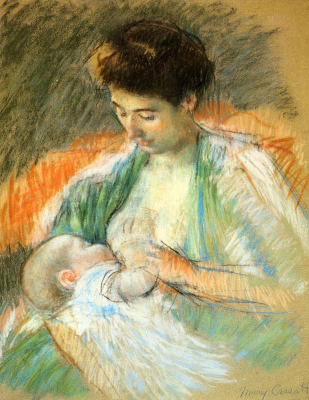 Мэри Кассат. Мать Роза кормит своего ребенка грудью
