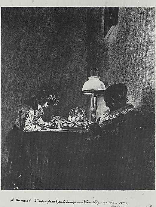 Адольф фон Менцель. Семья у лампы