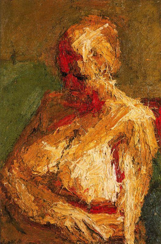 Франк Ауэрбах. Поясной портрет обнажённой Э. О. У. (Эстелла Олив Уэст)