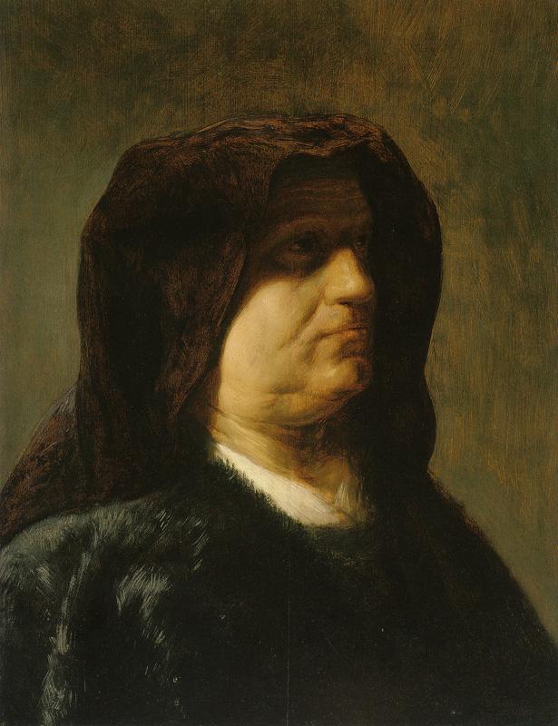 Ян Ливенс. Портрет пожилой женщины в пурпурном капюшоне