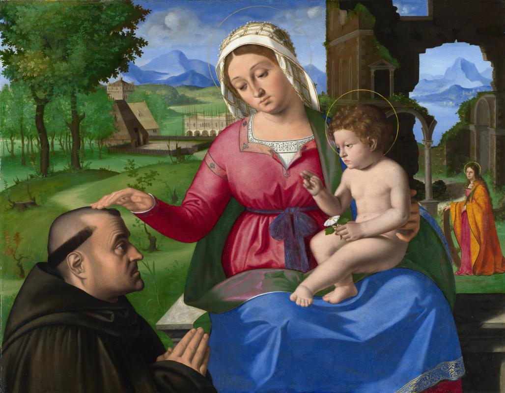 Андреа Превитали. Дева с младенцем и проситель