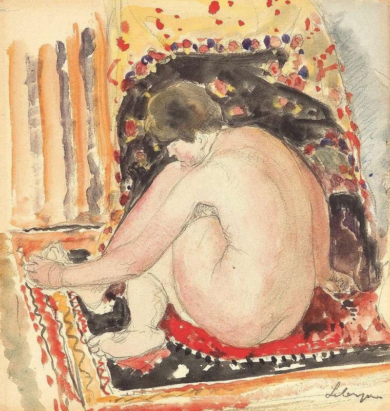 Henri Lebasque. Seated Nude in interior