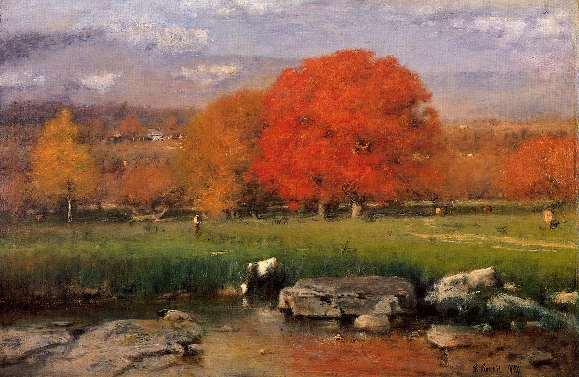 George Innes. Morning Catskill valley the Red oaks or
