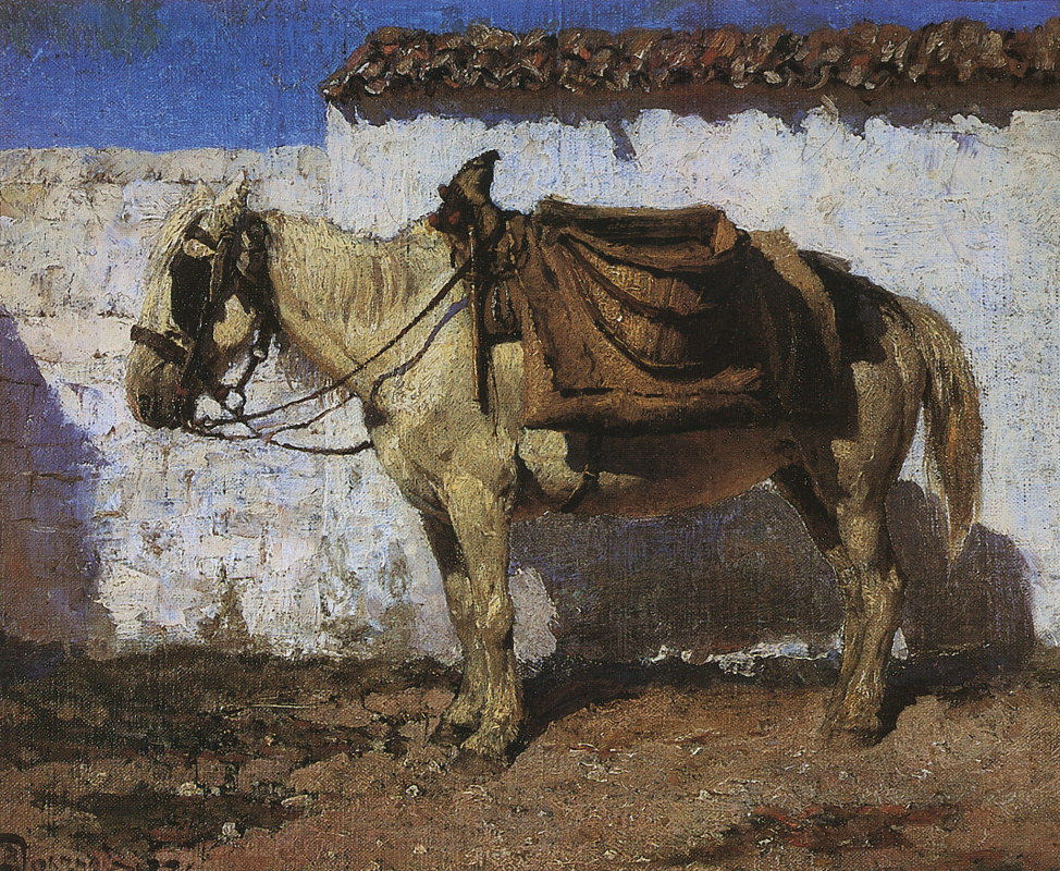 Vasily Polenov. White horse. Normandy