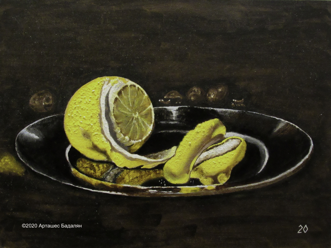 Artashes Badalyan. Kheda. Still life with silver utensils and oysters (detail) - x-hardboard-m - 30x40