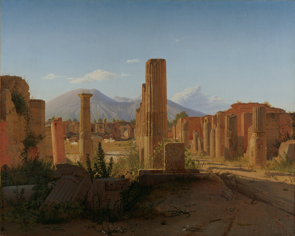 Kristen Köbke. Forum in Pompeii against the background of Vesuvius