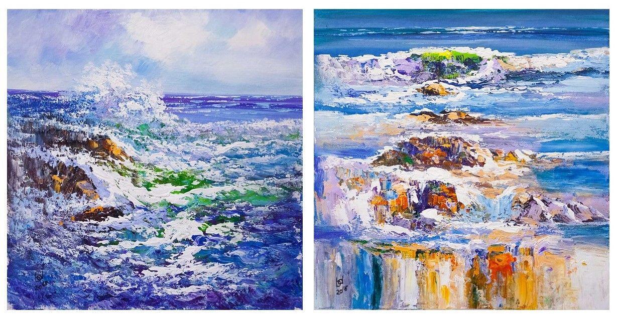 Brian dupre. In the blue sea, in the foamy sea ... Diptych