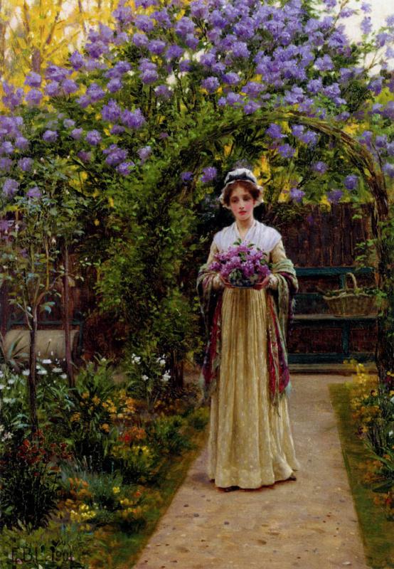 Эдмунд Блэр Лейтон. Девушка в длинном платье в саду