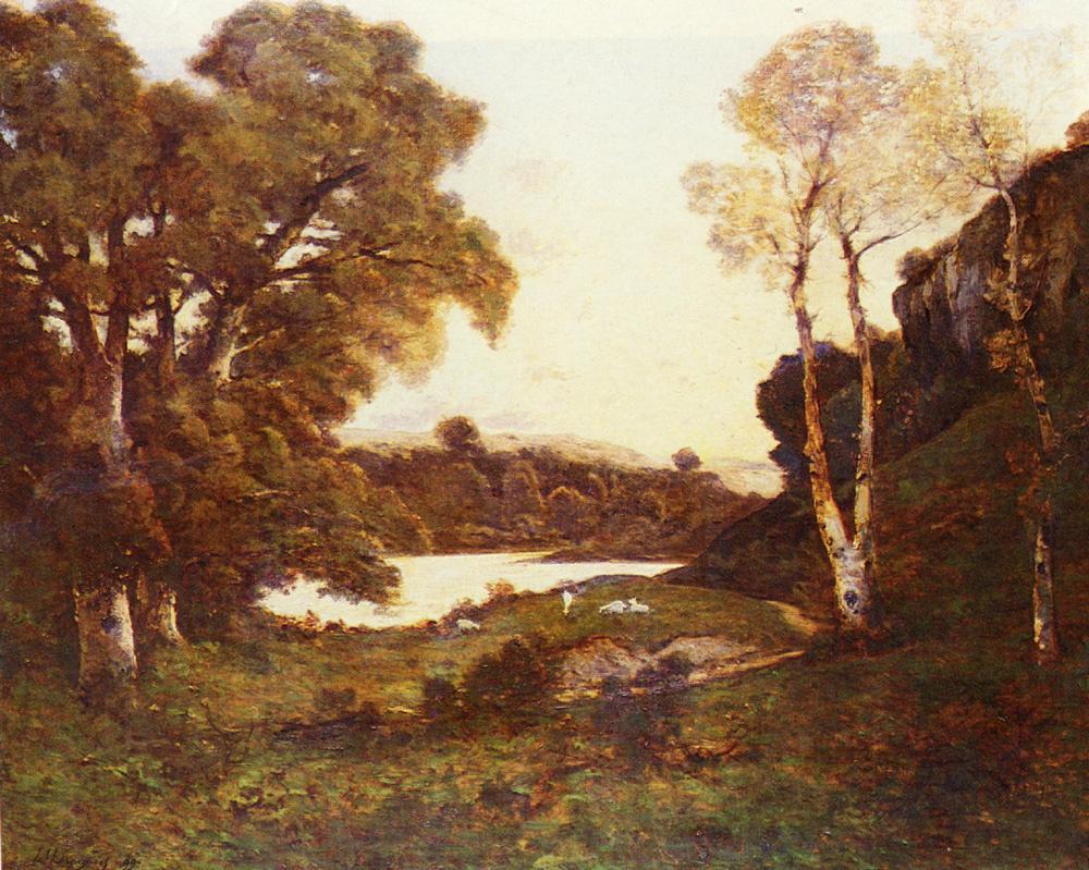 Henri-Joseph Harpignies. The lake at sunset
