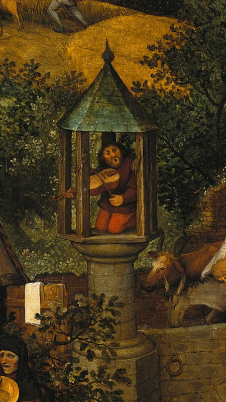Pieter Bruegel The Elder. Flemish proverbs. Fragment: To mess with the pillory - to attract attention with shameful actions