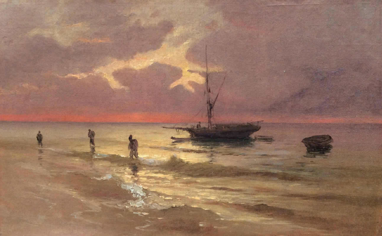 Mikhail Alexandrovich Alisov. Boat at sunset