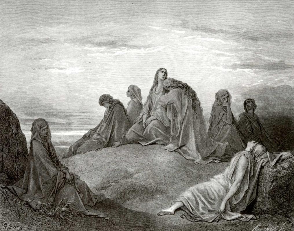 Поль Гюстав Доре. Иллюстрация к Библии: дочь Иеффая с подругами